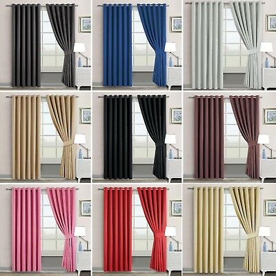 Origional Blackout Ring Top Thermal Curtain Pair Eyelet Ready Made  Curtain