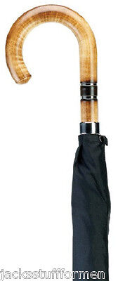 Harvy Scorched Maple Wood Crook Handle Nickle Band Handcrafted Black Umbrella