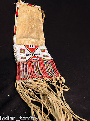 """c1880s Sioux Indian Pipe Bag -Native tanned hide, dyed quill, seedbeads 23"""" long"""