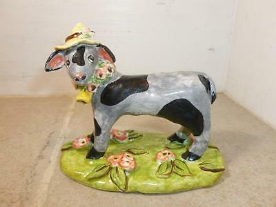 Cynthia Crane Hand Crafted Painted Folk Art Pottery Spring Summer Goat Country