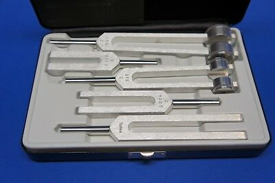 Miltex Tuning Fork Set With Steel Case Marked W/Caduceus 5 Components