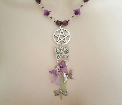 Nature Pentacle Necklace, wiccan pagan wicca witch witchcraft magic pentagram