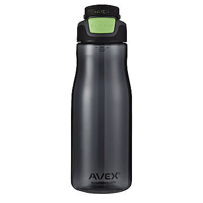 Avex Brazos Autoseal 32oz Water Bottle Charcoal Grey/Electric Green for Cycling