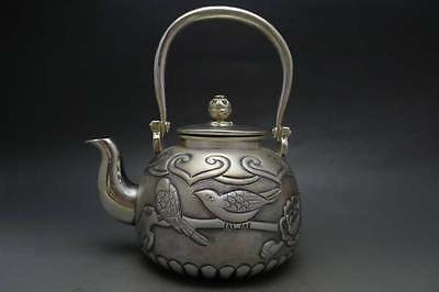 Japanese Collection TEA KETTLE made of Pure Silver ,W15 H18[cm] 531g Carved Seal