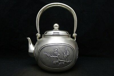 Japanese Collection TEA KETTLE made of Pure Silver ,W15 H18[cm] 623g Carved Seal