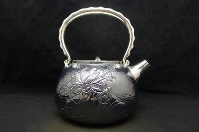 Japanese Collection TEA KETTLE made of Pure Silver ,W17 H20[cm] 626g Carved Seal