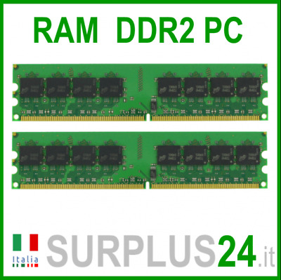 KIT RAM 2Gb (2x1Gb) PC2-4200U DDR2-533Mhz 240pin Memoria x DESKTOP No Ecc