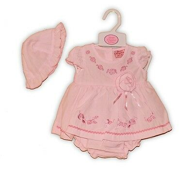 Baby Girl Summer Dress Set Sun Hat Knickers Pants Pink ROSE Tiny Baby NB 0-3M