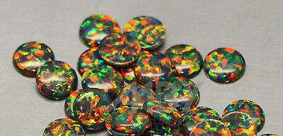 Lab Created Synthetic Black Opal - Round Cabochon AAA Loose stone (3mm-10mm)