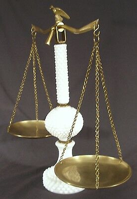 Vintage Milk Glass Brass Pillar Balance Beam Scale W/ Old American Eagle Finial