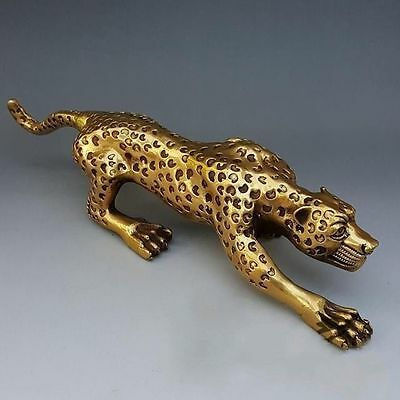 "Collectable 16"" Huge Bronze Collect Leopard Panther Cheetah Run Statue"