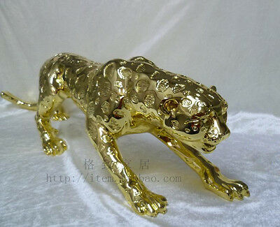 "13 inch"" Huge Bronze Collect Leopard Panther Cheetah Run Statue"