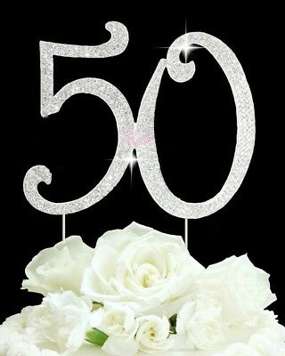 Large Sparkling Silver Rhinestone 50 Happy Birthday Cake Topper by Forbes Favors