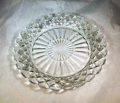 """HOCKING GLASS CO. WATERFORD or WAFFLE CLEAR CRYSTAL 7-1/8"""" DIAMETER SALAD PLATE!"""