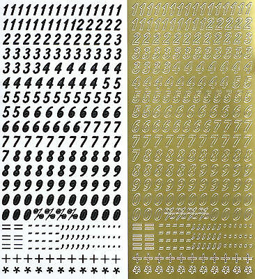 8mm NUMBERS Type 3 PEEL OFF STICKERS 0 - 9 = + * ' . - % Symbols Number