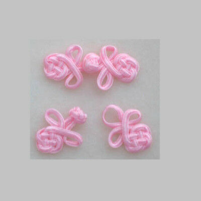Six pairs pink small Chinese Frogs fasteners closure buttons delicate doll