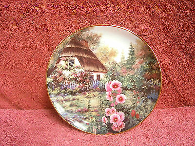 """Franklin  Mint  """"hollyhock  Cottage""""  Limited Edition Collector's  Plate"""