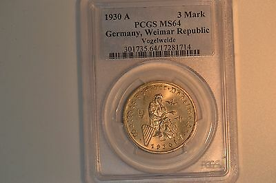 1930-A Germany, Weimar Republic 3 Mark- PCGS MS-64.  Lovely coin.