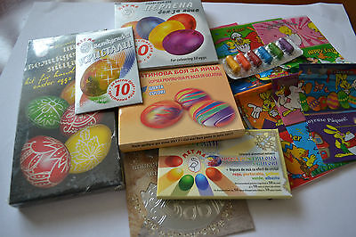 EASTER EGG Eggs DECORATING COLOR GELATIN DYE PAINT STICKER WRAP SLEEVE Job lot