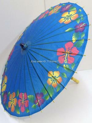 Blue Chinese Oriental Paper Bamboo Parasol Umbrella KASA Swirl Decoration #FG