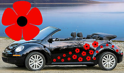64 Red Poppy Car Decals,Flower Car Decals, Flower Car Stickers