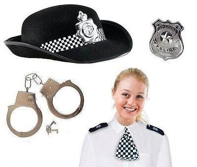 Womens Policewoman Wpc Accessory Police Copper Hat New Set 4 Fancy Dress Costume