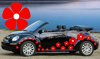 64 Red & White Pansy Flower Car Decals, Flower Car Stickers,Daisy Stickers