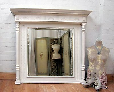 IMPOSING LARGE ANTIQUE FRENCH CRACKLE PAINTED OAK MANTEL MIRROR - c1900