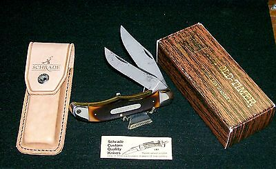 Schrade 25OT Folding Bowie Knife USA Old Timer Set 1970's W/Packaging Paperwork