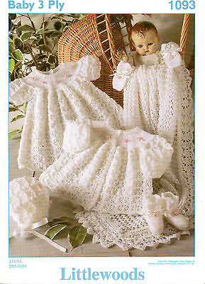 "Littlewoods 1093 Vintage Baby Knitting Pattern 3 ply Layette 12-18"" prem-6 month"