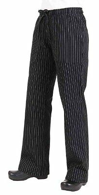 Chef Works BWOM-BPS Women's Chef Pants, Black and White Pinstripe, Size XL, New,