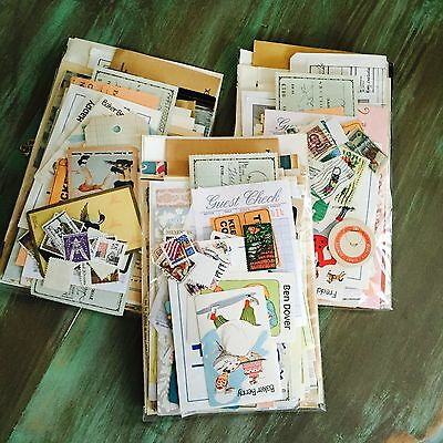 VINTAGE EPHEMERA LOT PAPER PACK NEUTRAL FOR COLLAGE, ART, mixed media, 75 pcs.