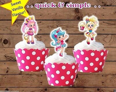 Shopkins Shoppies x12 EDIBLE wafer Cupcake Toppers cake birthday