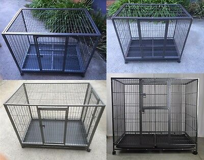 Pet Dog Cage Wire Metal Crate Kennel Puppy Cat Rabbit House Enclosure Castor