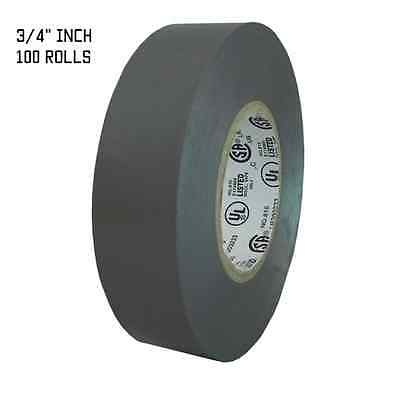 "TapesSupply 100  ROLLS GRAY ELECTRICAL TAPE 3/4"" X 66 FT"