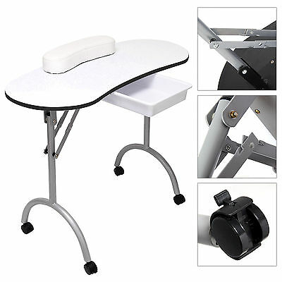 Manicure Nail Hand Table Portable Salon Folding Desk W/Carry Bag White