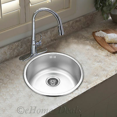 Stainless Steel Kitchen Sink Laundry Single Bowl Plumbing Kit Drainer 430x 180mm