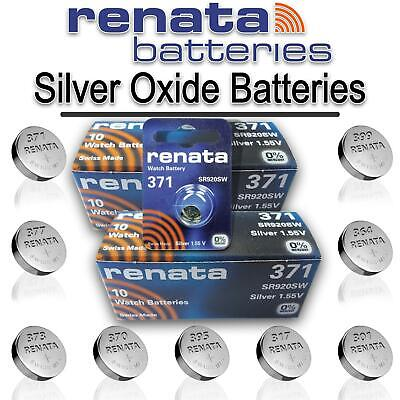 10x All Sizes Renata Watch Battery Swiss Made Silver Oxide Renata Batteries Cell
