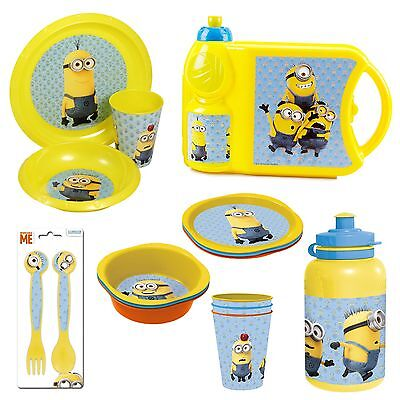 MINIONS Plastic Kids Picnic Dinner Lunch Feeding Cup Plate Bowl Bottle Cutlery