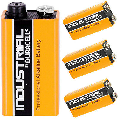 4x DURACELL INDUSTRIAL 9v PP3 MN1604 BLOCK ALKALINE BATTERIES REPLACES PROCELL