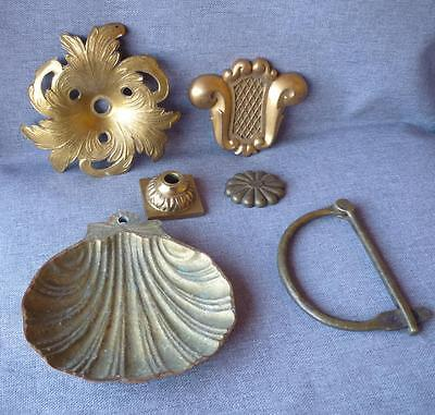 6 vintage hardware lot France early 1900's ornaments made of brass and bronze
