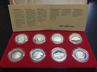 Inglaterra 1977 Spinx Silver Jubilee Proof Set 8 Coins/Crowns Case & Coa Uk