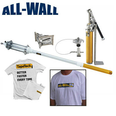 TapeTech MudRunner Drywall Corner Finish Tool Set w/Angle Head, Pump, 2 Shirts