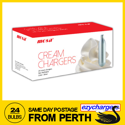 Same Day Postage 24 Mosa Cream Chargers Bulbs 24 Pack X 1 Nitrous Oxide N2O
