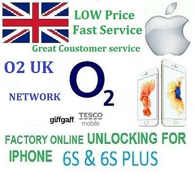 Unlocking for IPhone 6S & 6S+ PLUS O2 UK Network Factory Unlock Service TESCO O2