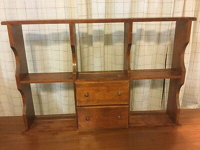 Vintage Beautiful Wood wall or desk shelf with 2 drawers