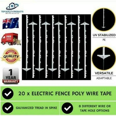 Electric Fence Poly Wire Tape  20x  Insulator Fencing Post Solar Energiser