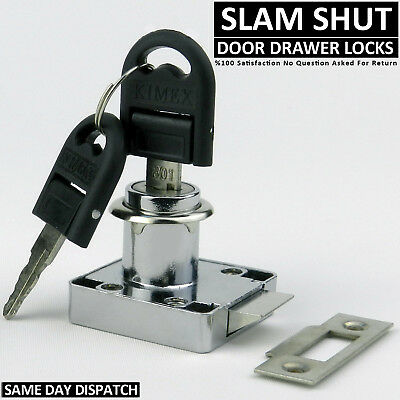 Slam Shut Chrome Cupboard Drawer Door Push Lock Cactch For Caravan Boat 2 Keys