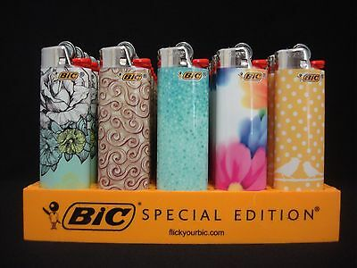7 Bic Lighters Fashion Roses Flowers Birds Lips Love Regular Size Disposable