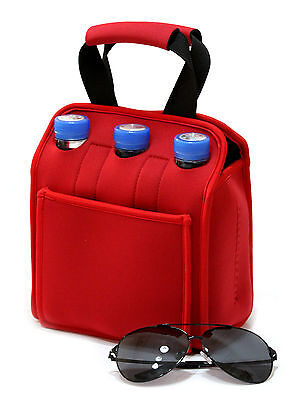 Neoprene beer bottle cooler, insulated six pack wine tote, picnic cooler bag